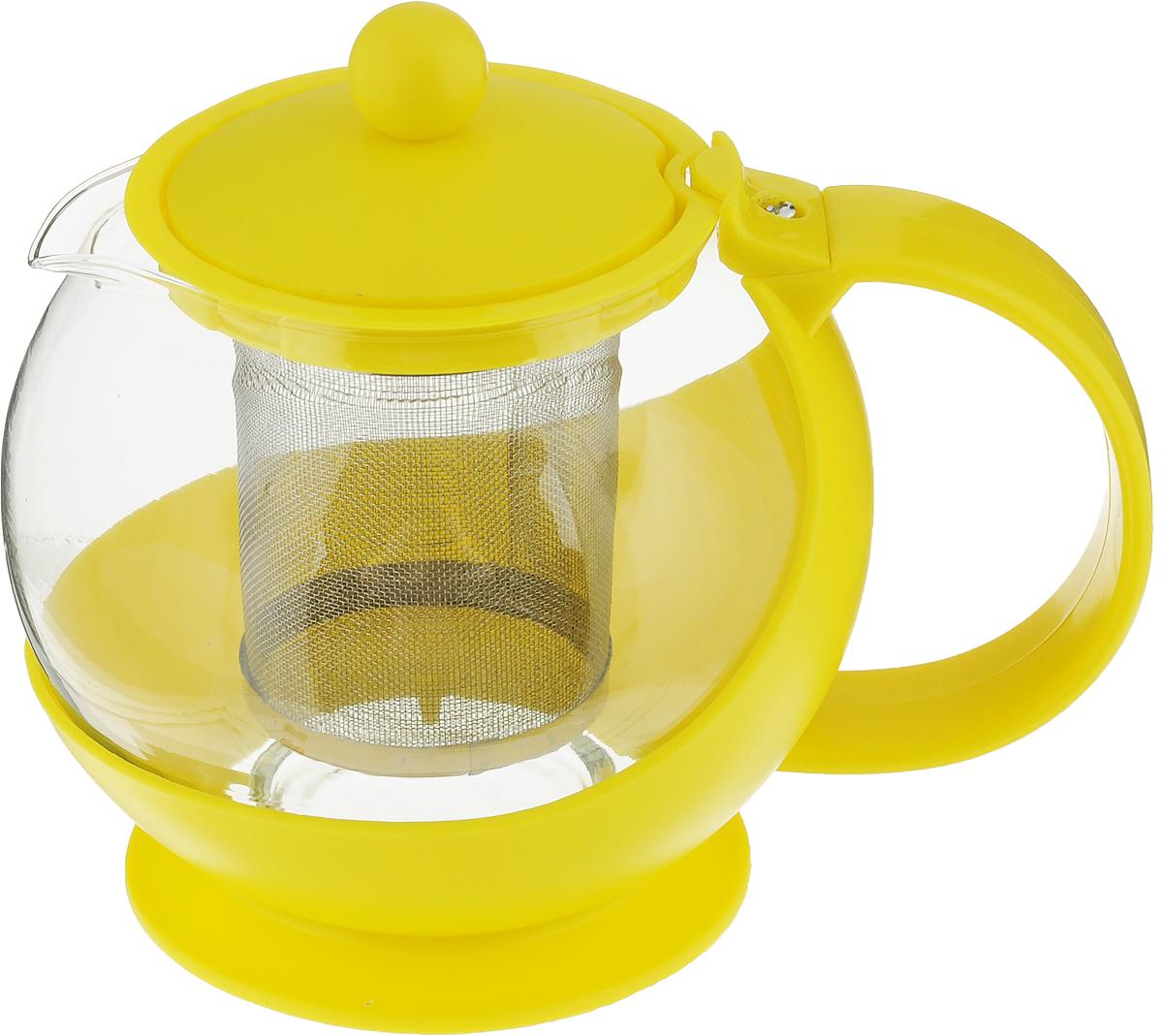 Чайник заварочный МФК-профит, с фильтром, цвет: желтый, 700 мл8070-1_желтыйЗаварочный чайник МФК-профит предоставит вам все необходимые возможности для успешного заваривания чая. Он изготовлен из термостойкого стекла и оснащен крышкой и ручкой из пластика, также имеется вставка из нержавеющей стали. Чай в таком чайнике дольше остается горячим, а полезные и ароматические вещества полностью сохраняются в напитке. Чайник оснащен фильтром, который выполнен из металла. Простой и удобный чайник поможет вам приготовить крепкий, ароматный чай. Нельзя мыть в посудомоечной машине. Не использовать в микроволновой печи, духовке и на открытом огне.