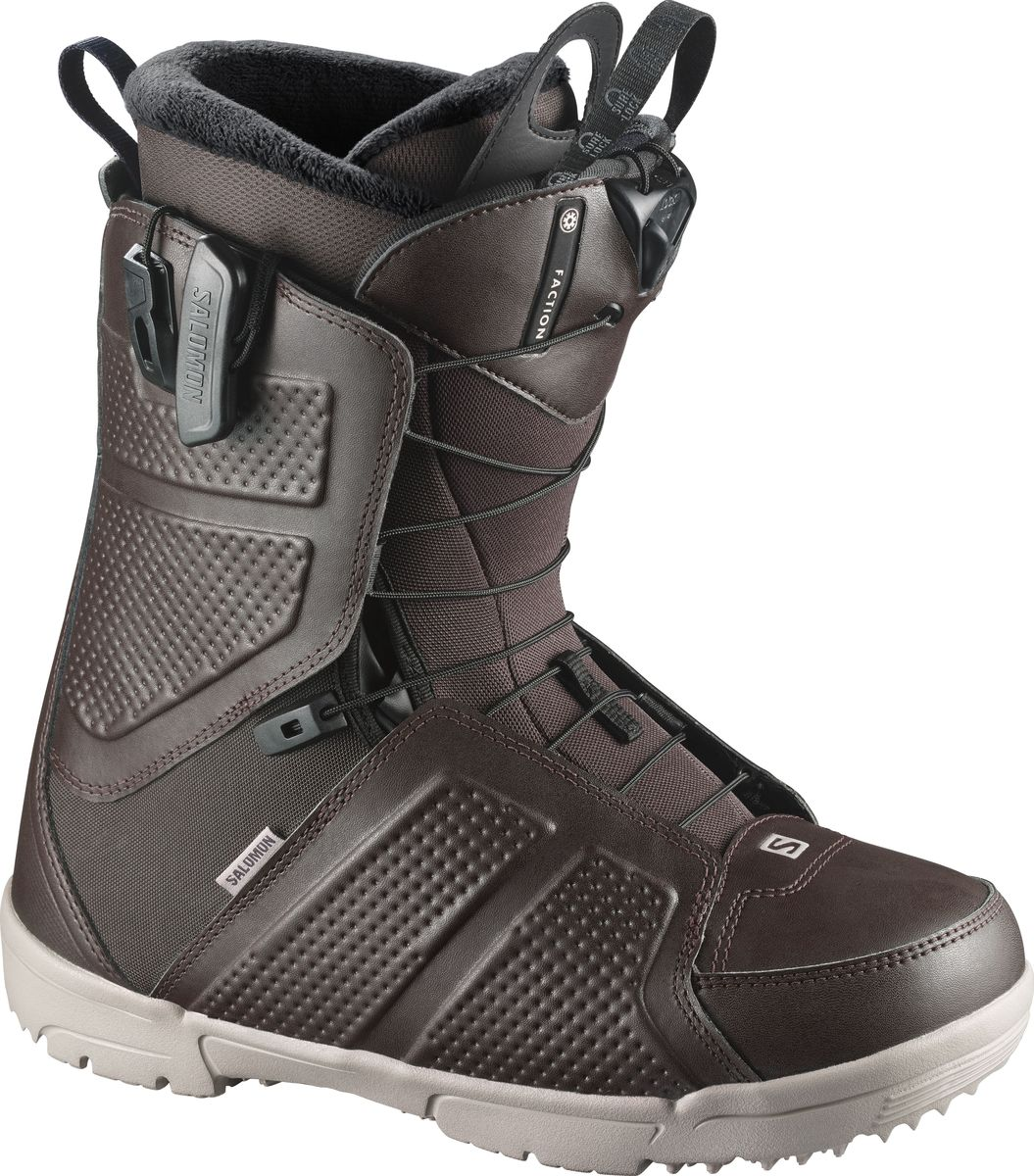 Ботинки для сноуборда Salomon Faction, цвет: коричневый, хаки. Размер 29,5 (45)L39952400Ни один ботинок в этом ценовом диапазоне не сравнится с Faction. Фирменная ДНК Salomon - посадка, отзывчивость и долговечность, лучшая покупка десятилетия.