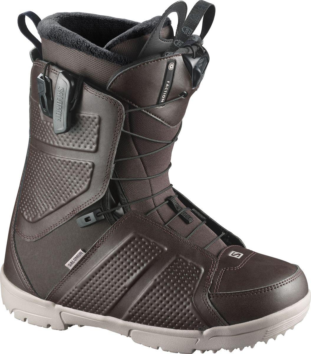 Ботинки для сноуборда Salomon Faction, цвет: коричневый, хаки. Размер 30 (45,5)L39952400Ни один ботинок в этом ценовом диапазоне не сравнится с Faction. Фирменная ДНК Salomon - посадка, отзывчивость и долговечность, лучшая покупка десятилетия.