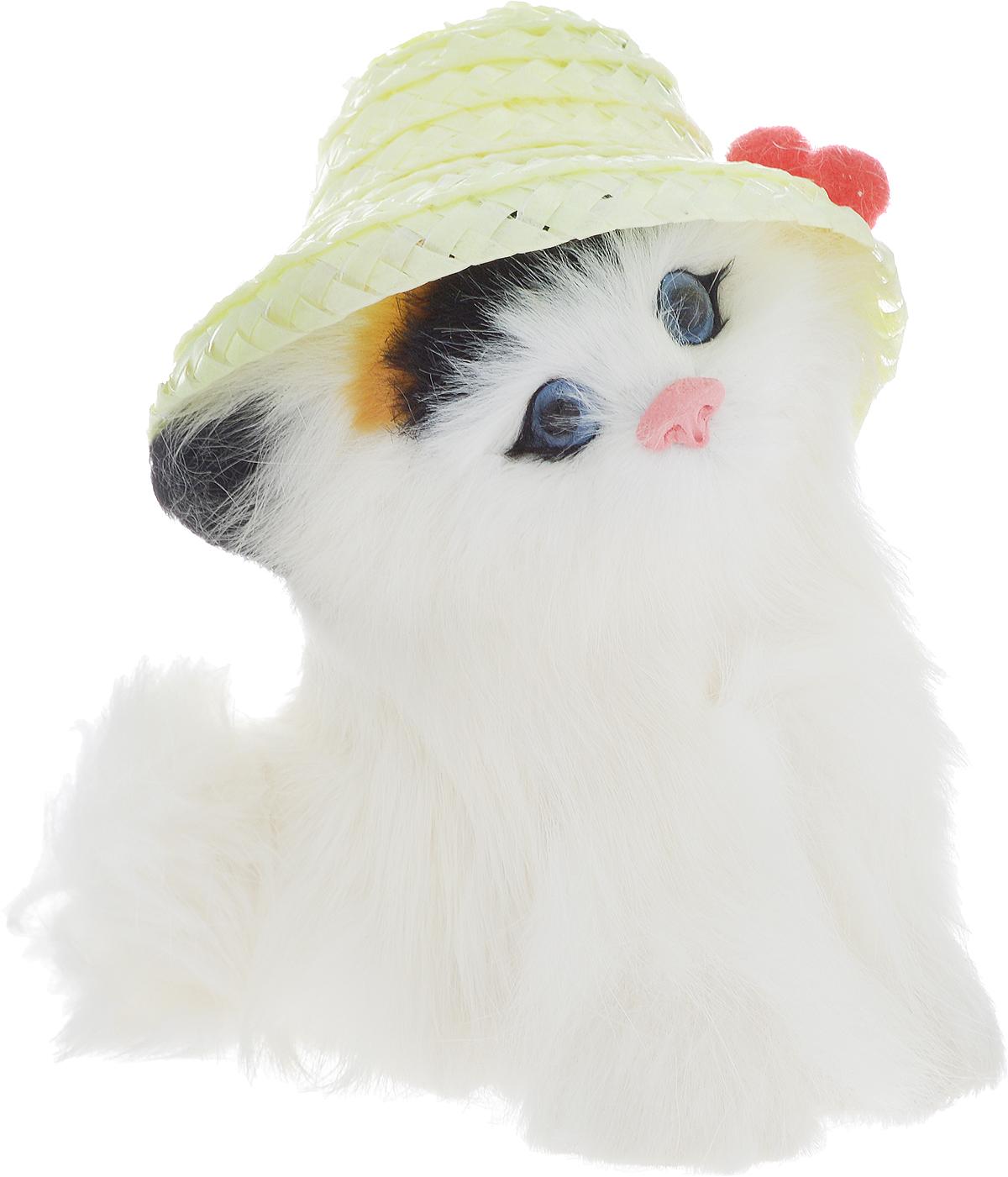Vebtoy Фигурка Котенок в шляпке цвет белый