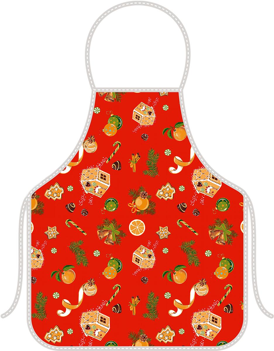 Фартук кухонный Мультидом Новогоднее настроение, цвет: красный, 52 х 72 смТП2-51Предназначен для защиты одежды во время приготовления пищи, уборки или стирки. Размер изделия: длина - 72 см, ширина - 52 см, размер завязок - 2шт. по 53 см. За счет завязок на поясе изделие регулируется под любой размер. Состав: 100% хлопок. Стирать в соответствии с рекомендациями на этикетке.