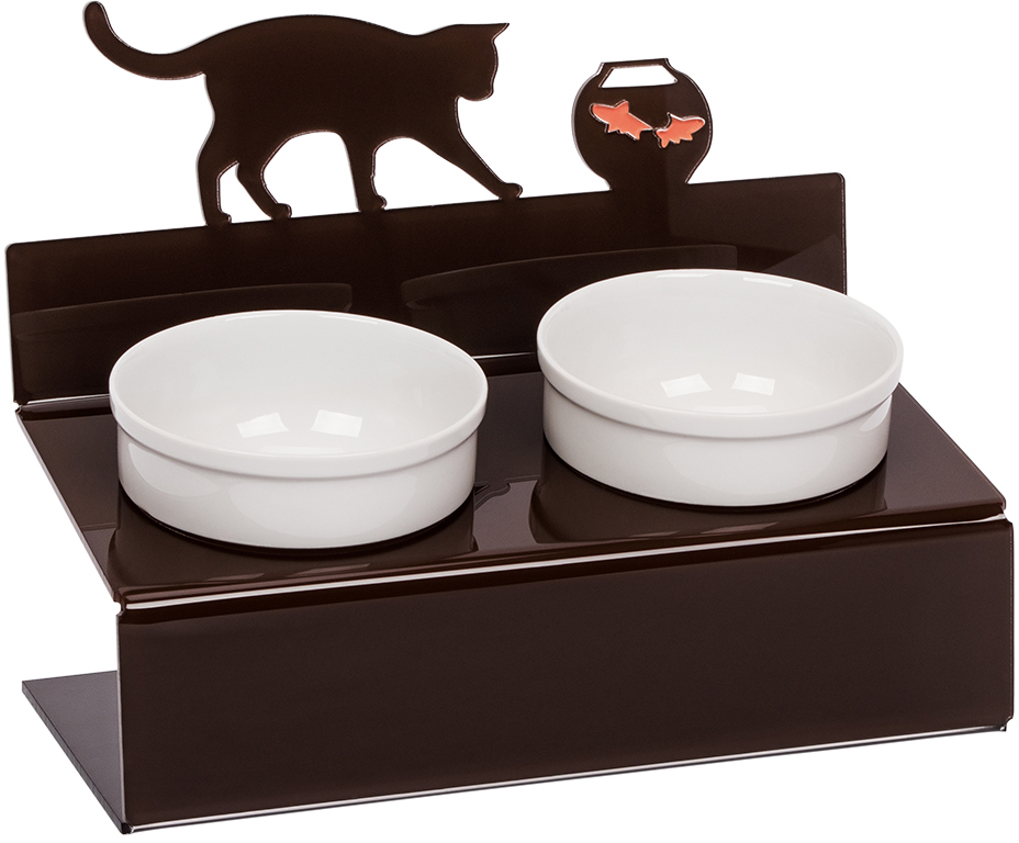 Миска для животных Artmiska  Кот и рыбы , двойная, на подставке, цвет: коричневый, 2 х 350 мл - Аксессуары для кормления