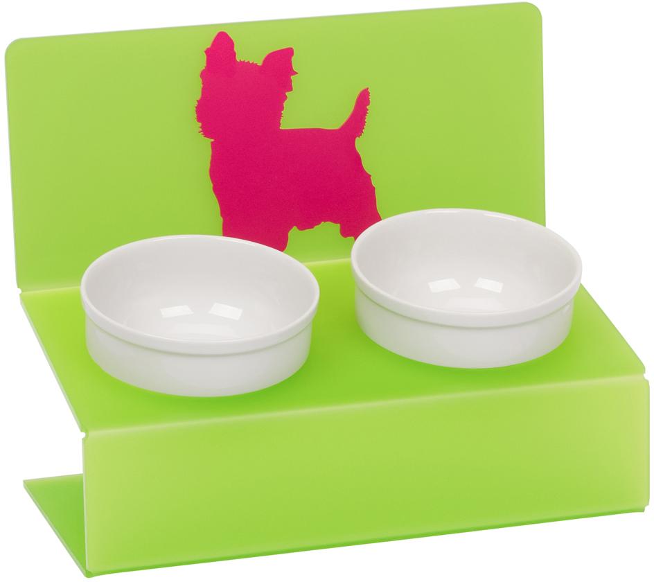 Миска для животныx Artmiska  Любимая собачка , двойная, на подставке, цвет: салатовый, 2 x 350 мл - Аксессуары для кормления