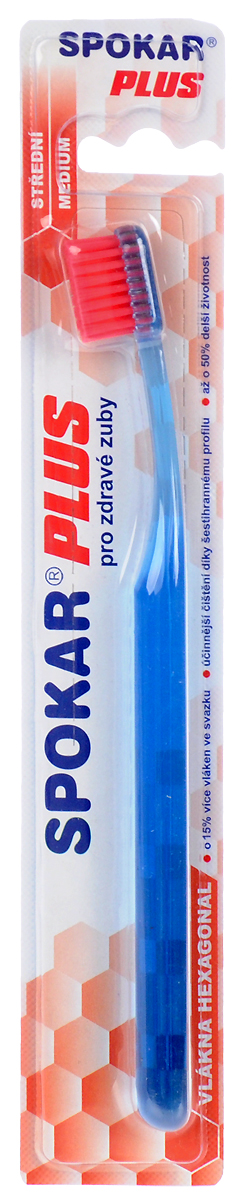 Spokar Зубная щетка Plus: Medium, средняя жесткость, цвет: голубой3428M_голубойЗубная щетка Spokar Plus: Medium с шестиугольными волокнами имеет щетину средней жесткости. Прямой срез щетины позволят равномерно очищать зубы, а удобная эргономичная ручка не позволит зубной щетке выскользнуть во время чистки зубов.Товар сертифицирован.