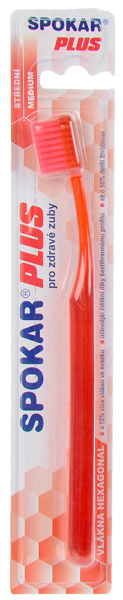 Spokar Зубная щетка Plus: Medium, средняя жесткость, цвет: красный3428M_красныйЗубная щетка Spokar Plus: Medium с шестиугольными волокнами имеет щетину средней жесткости. Прямой срез щетины позволят равномерно очищать зубы, а удобная эргономичная ручка не позволит зубной щетке выскользнуть во время чистки зубов.Товар сертифицирован.