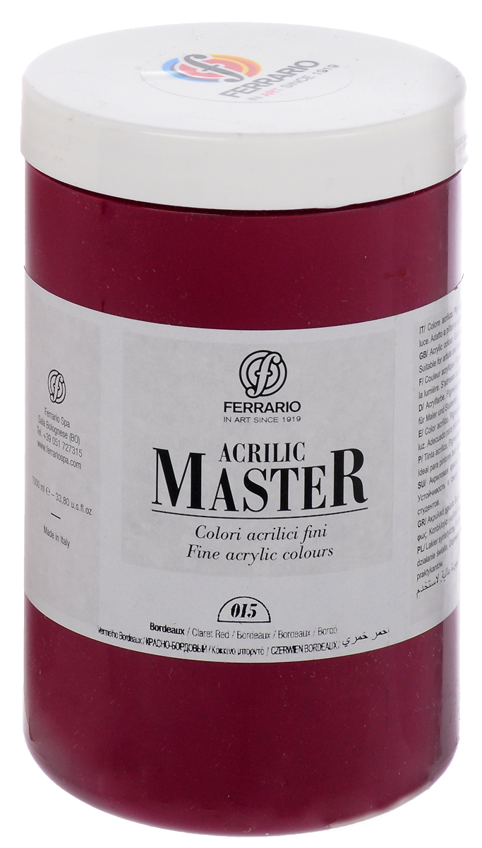 Ferrario Краска акриловая Acrilic Master цвет №15 бордовый BM0979E015BM0979E015Акриловые краски серии ACRILIC MASTER итальянской компании Ferrario. Универсальны в применении, так как хорошо ложатся на любую обезжиренную поверхность: бумага, холст, картон, дерево, керамика, пластик. При изготовлении красок используются высококачественные пигменты мелкого помола. Краска быстро сохнет, обладает отличной укрывистостью и насыщенностью цвета. Работы, сделанные с помощью ACRILIC MASTER, не тускнеют и не выгорают на солнце. Все цвета отлично смешиваются между собой и при необходимости разбавляются водой. Для достижения необходимых эффектов применяют различные медиумы для акриловой живописи. В серии представлено 50 цветов.