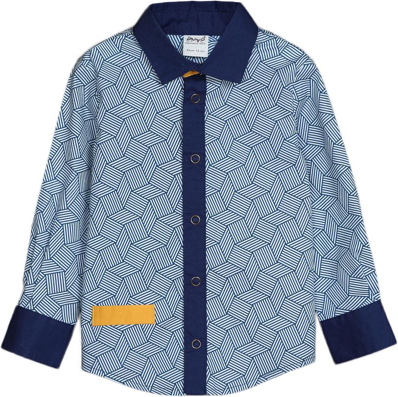 Рубашка для мальчиков Ёмаё, цвет: синий. 40-907. Размер 11040-907Модная рубашка из текстиля – дополнит гардероб вашего стиляги и станет просто незаменимой вещью! Приталенный силуэт, отделка внутренней планки, стойки и манжет с контрастной тканью делают рубашку очень привлекательной и яркой! Модель спереди с правого бока имеет прорезной карман. Рассчитана на демисезонный период.