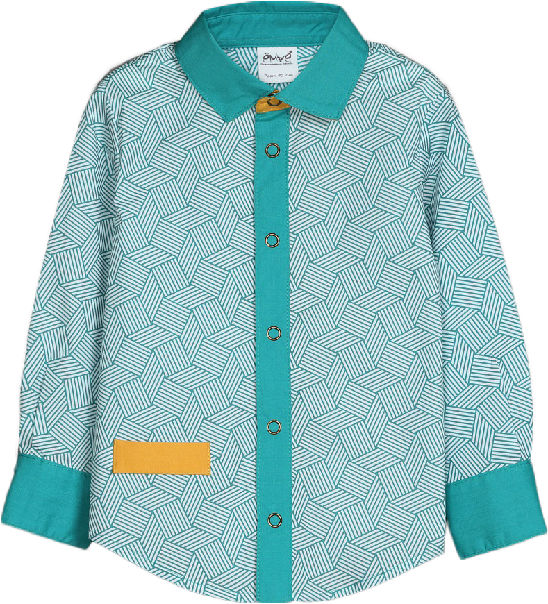 Рубашка для мальчиков Ёмаё, цвет: бирюзовый. 40-907. Размер 9240-907Модная рубашка из текстиля – дополнит гардероб вашего стиляги и станет просто незаменимой вещью! Приталенный силуэт, отделка внутренней планки, стойки и манжет с контрастной тканью делают рубашку очень привлекательной и яркой! Модель спереди с правого бока имеет прорезной карман. Рассчитана на демисезонный период.