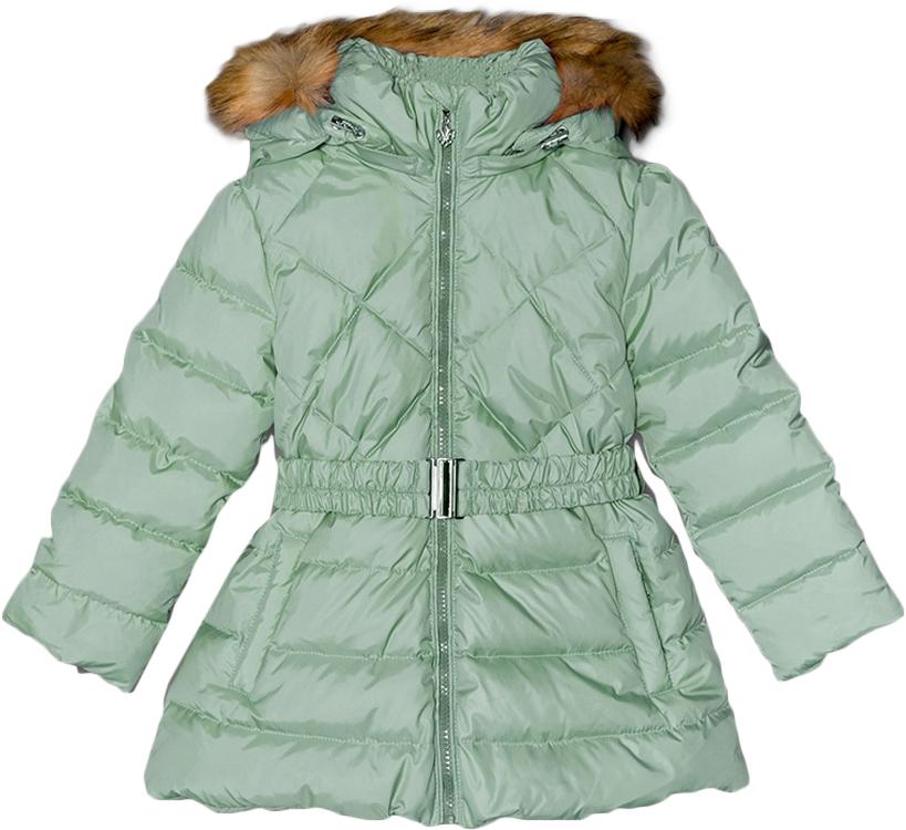 Куртка для девочек Ёмаё, цвет: светло-зеленый. 39-123. Размер 9239-123Куртка для девочки на натуральном пуху (85/15, плотность набивки - 250 гр/м кв), Температурный режим - до минус 25-30 Капюшон съёмный; меховая опушка - съёмная (искуственный Енот) Стойка высокая, объёмная, По низкам рукавов - внутренние манжеты, защищающие ребёнка от ветра и снега По низу куртки и по лицевому срезу капюшона предусмотрена регулировка с помощью шнура-резинки и фиксаторов - защита от ветра Изделие со съёмным поясом (эластичным) Застёжка куртки с внутренней ветрозащитной планкой