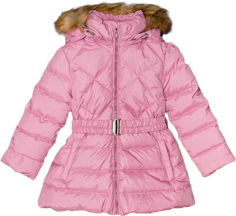 Куртка для девочки Ёмаё, цвет: розовый. 39-123. Размер 12239-123Теплая куртка для девочки Ёмаё идеально подойдет для вашей маленькой модницы в холодное время года. Модель изготовлена из 100% полиэстера на подкладке из вискозы. В качестве наполнителя используются гусиный пух и перо. Стеганая куртка с капюшоном застегивается на пластиковую застежку-молнию и дополнительно имеет съемный эластичный пояс. Капюшон с отстегивающейся опушкой из искусственного меха крепится к куртке при помощи застежки-молнии. Низ рукавов дополнен скрытыми трикотажными манжетами, которые мягко обхватывают запястья. Спереди предусмотрены два прорезных кармана. Понизу проходит скрытая резинка со стопперами.