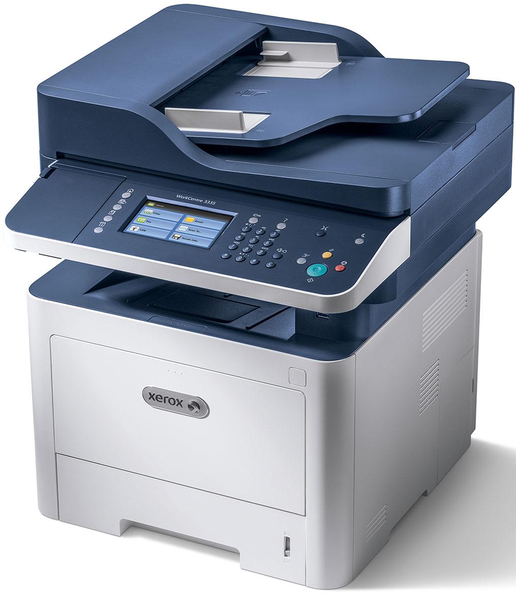 Xerox WorkCentre 3335DNI МФУ3335V_DNIМонохромное лазерное МФУ Xerox WorkCentre 3335DNI полностью отвечает современным требованиями, предъявляемым заказчиками. Высокая емкость и раздельная архитектура расходных материалов (раздельные тонер-картридж и барабан) делают стоимость отпечатка одной из лучших в сегменте. Лучшее в своем классе устройство оснащено самыми современными технологиями: широкие возможности беспроводного доступа благодаря встроенному модулю Wi-Fi, опциональная поддержка NFC-технологии, поддержка беспроводной печати с мобильных устройств при помощи технологий AppleAirPrint, GoogleCloudPrint, Xerox Print Service и Mopria, новейшие функций безопасности для повышенного контроля и защиты данных. К ключевым преимуществам можно отнести следующие параметры: Эффективность и производительность:- широкий функционал- богатая базовая комплектация- интуитивно понятный интерфейс.Компактный дизайн:- функции 4 устройств в одном (принтер/копир/сканер/факс)- широкие возможности беспроводного подключения.Низкая стоимость печати и владения:- раздельная архитектура расходных материалов- картридж повышенной емкости на 8500 страниц и супер повышенной емкости на 15 000 страниц!