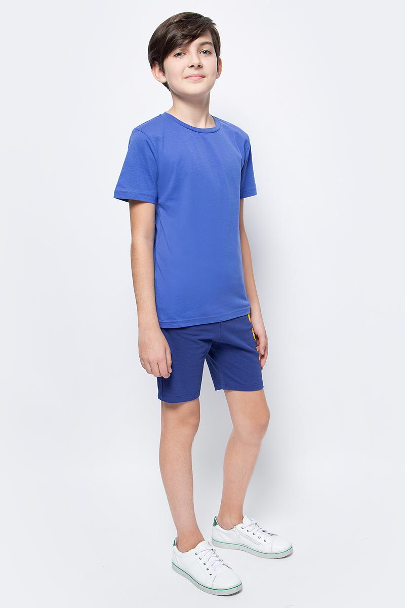 Футболка для мальчика LeadGen, цвет: синий. B913018703-172. Размер 170B913018703-172Футболка для мальчика LeadGen выполнена из натурального хлопкового трикотажа. Модель с короткими рукавами и круглым вырезом горловины спереди оформлена принтом.