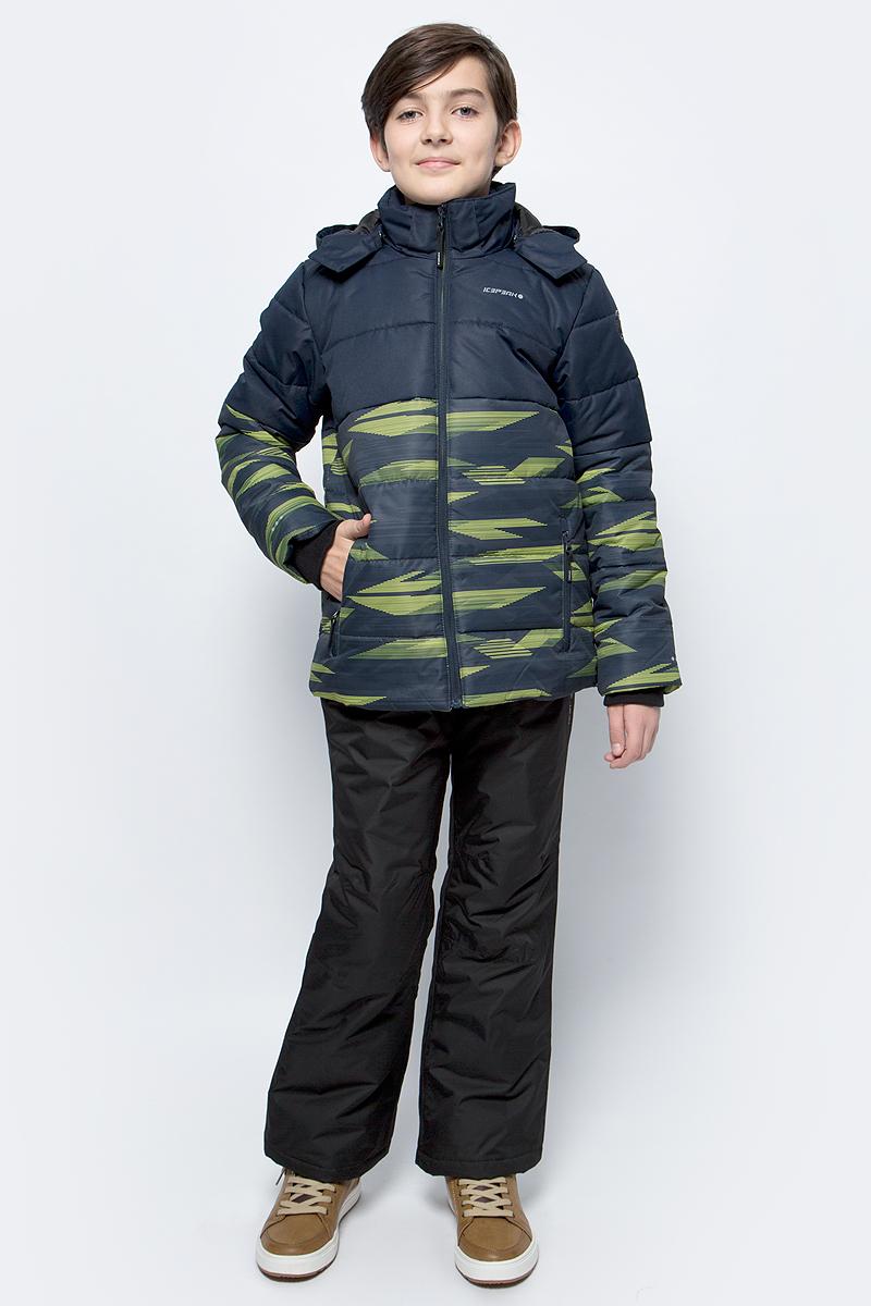 Куртка для мальчика Icepeak, цвет: синий, желтый. 850013672IV_510. Размер 164850013672IV_510Куртка для мальчика Icepeak выполнена из полиэстера. Модель с длинными рукавами и капюшоном застегивается на застежку-молнию.