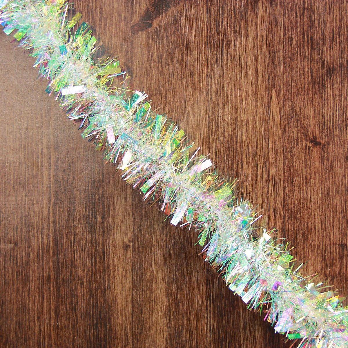 Мишура новогодняя Перламутровые блики, диаметр 6,5 см, длина 200 см мишура новогодняя eurohouse праздничная цвет сиреневый серебристый диаметр 9 см длина 200 см