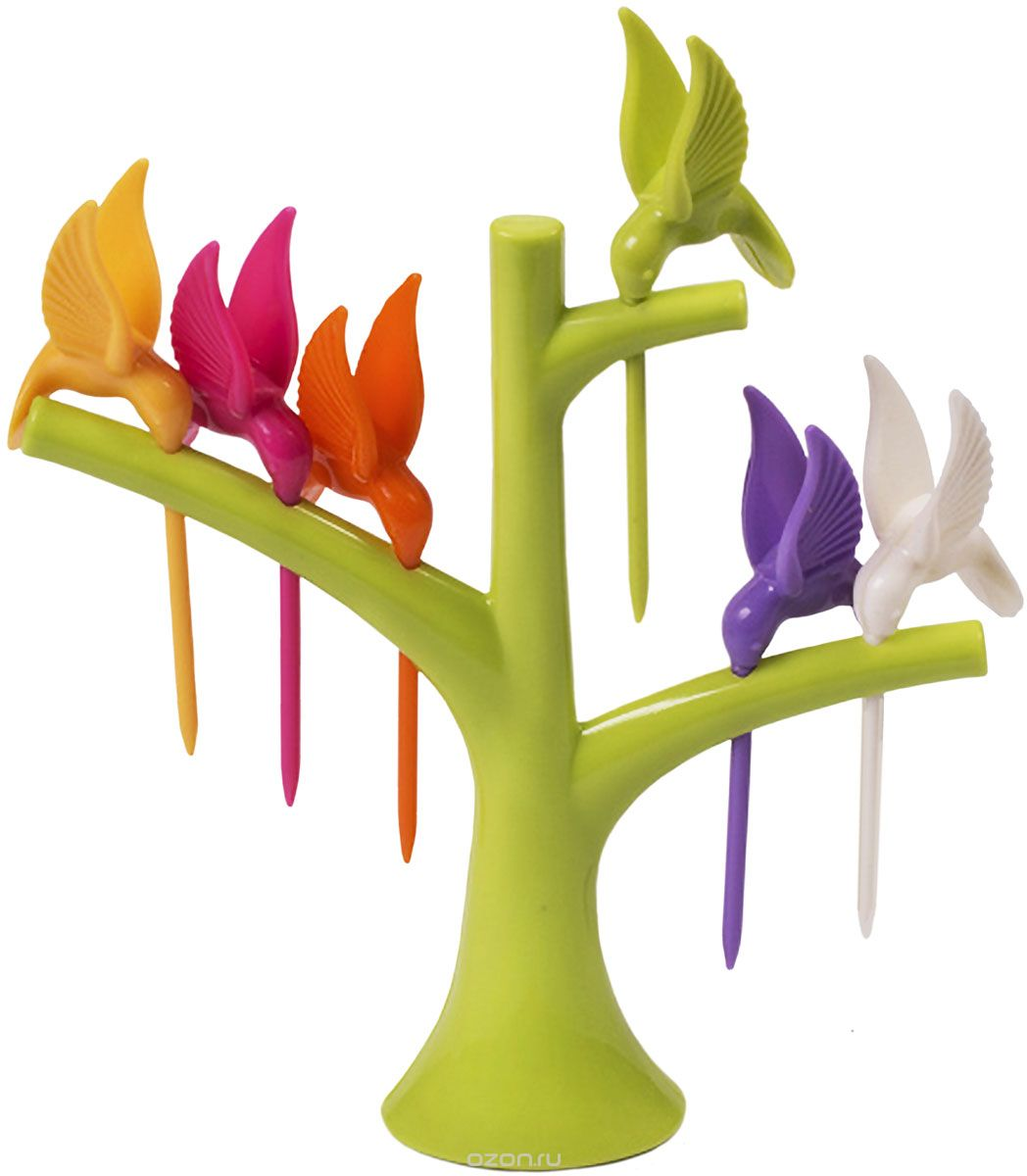 Набор шпажек для канапе Magic Home Птицы, с подставкой, 6 предметов набор шпажек для канапе обезьянки 6шт с подставкой