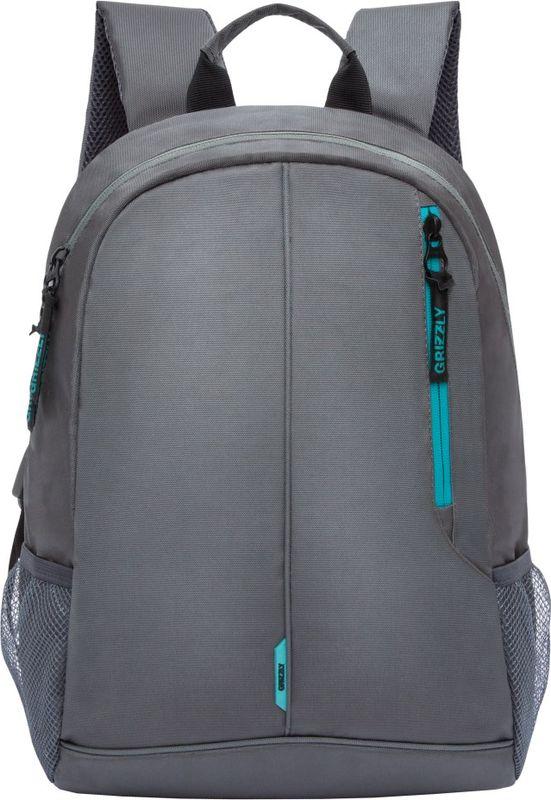 Рюкзак молодежный Grizzly, цвет: серый, бирюзовый, 15,5 л. RL-852-1/3RL-852-1/3Рюкзак молодежный, одно отделение, карман на молнии на передней стенке, боковые карманы из сетки, внутренний карман для электронных устройств, мягкая спинка, карман быстрого доступа на задней стенке, мягкая укрепленная ручка, укрепленные лямки.