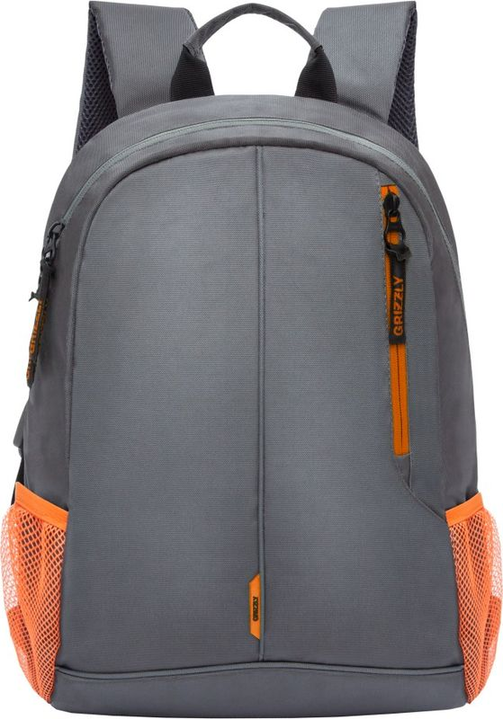 Рюкзак молодежный Grizzly, цвет: серый, оранжевый, 15,5 л. RL-852-1/4RL-852-1/4Рюкзак молодежный, одно отделение, карман на молнии на передней стенке, боковые карманы из сетки, внутренний карман для электронных устройств, мягкая спинка, карман быстрого доступа на задней стенке, мягкая укрепленная ручка, укрепленные лямки.