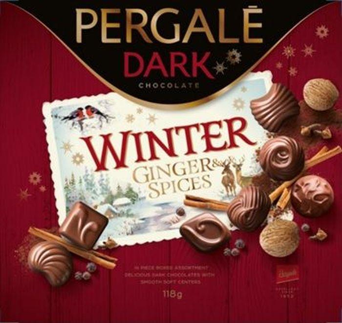 Pergale Зимний праздник набор конфет из темного шоколада с начинками из специй, 118 г10790Непросто однозначно решить, какие атрибуты Рождества являются главными, но мы точно знаем, какой у этого праздника вкус и аромат! Уникальная начинка в оболочке из темного шоколада, аромат имбирного печенья и пряников – всему этому нашлось свое место в этих конфетах. Они содержат всевозможные специи – корицу, имбирь, душистый молотый перец, молотую гвоздику, молотый мускатный орех, кардамон. Ни вкус, ни запах Вас не обманут – это настоящая рождественская конфета, которая украсит любой праздничный стол.