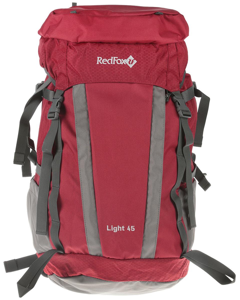 Рюкзак Red Fox Light V3, цвет: красный, 45 л1054087Red Fox Light V3 - функциональный рюкзак для продолжительных походов. Рюкзак состоит из одного отделения, которое закрывается на шнурок-утяжку со стоппером и клапан с пластиковыми защелками. На клапане расположен карман за застежке-молнии. По бокам изделия имеются два открытых накладных кармана. Спереди расположен карман на молнии и дополнительный вход во внутреннее отделение.Рюкзак оснащен двумя удобными ручками (спереди и сзади) и широкими практичными лямками регулируемой длины. Особенности:- назначение: трекинг;- подвесная система Active;- съемный мягкий поясной ремень;- жесткая вставка в спинке;- две боковые компрессионные стяжки;- петли для крепления ледового снаряжения;- эластичная шнуровка на фронтальной панели рюкзака;- карманы с эластичной затяжкой в нижней части рюкзака.Материал: N210D Honey Comb, P450D;Объем, л: 45.Вес, г: 1420.