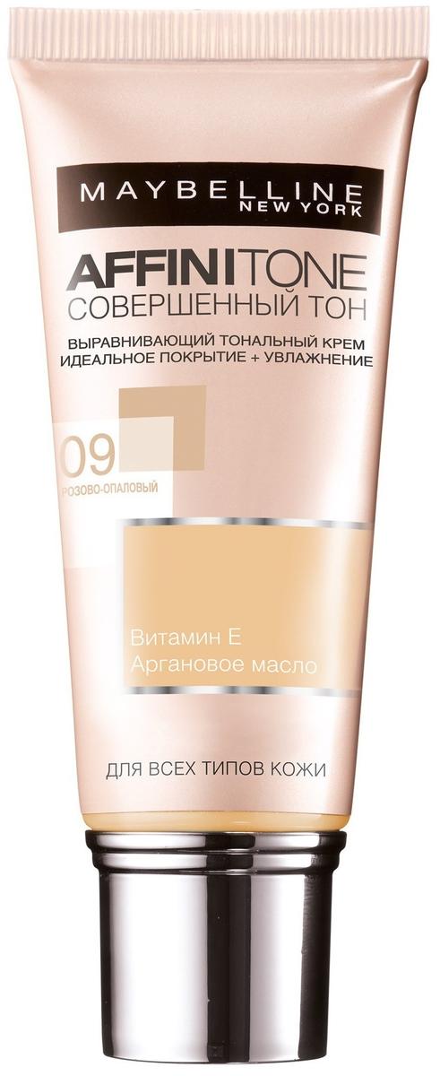 """Maybelline New York Тональный крем для лица """"Affinitone"""", выравнивающий и увлажняющий, с аргановым маслом, оттенок 09, Розово-опаловый, 30 мл"""