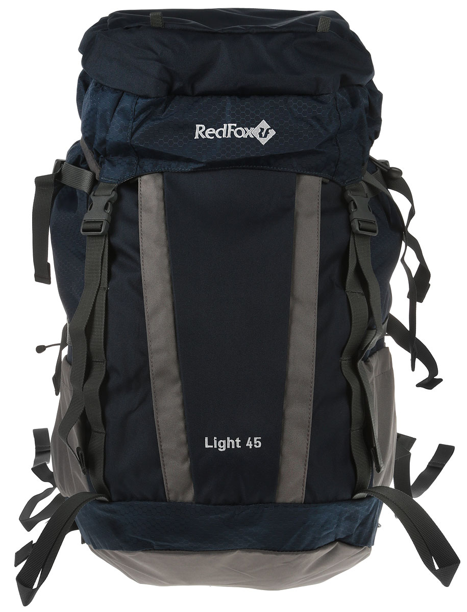 Рюкзак Red Fox Light V3, цвет: синий, 45 л1054087Red Fox Light V3 - функциональный рюкзак для продолжительных походов. Рюкзак состоит из одного отделения, которое закрывается на шнурок-утяжку со стоппером и клапан с пластиковыми защелками. На клапане расположен карман за застежке-молнии. По бокам изделия имеются два открытых накладных кармана. Спереди расположен карман на молнии и дополнительный вход во внутреннее отделение. Рюкзак оснащен двумя удобными ручками (спереди и сзади) и широкими практичными лямками регулируемой длины. Особенности:- назначение: трекинг;- подвесная система Active;- съемный мягкий поясной ремень;- жесткая вставка в спинке;- две боковые компрессионные стяжки;- петли для крепления ледового снаряжения;- эластичная шнуровка на фронтальной панели рюкзака;- карманы с эластичной затяжкой в нижней части рюкзака.Материал: N210D Honey Comb, P450D;Объем, л: 45.Вес, г: 1420.