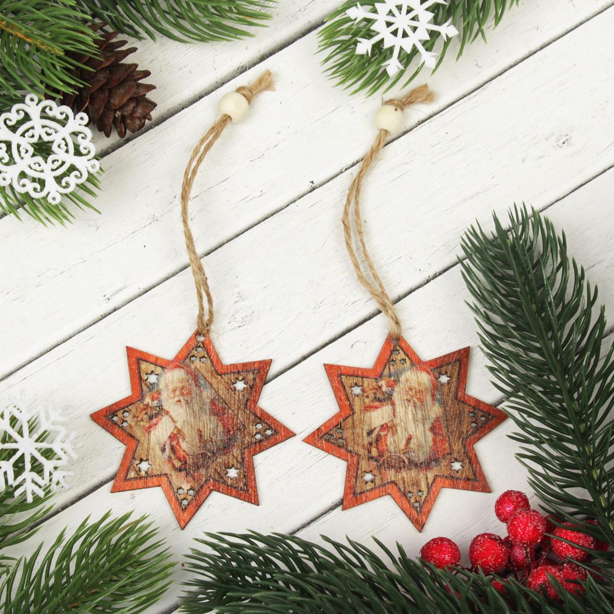 Украшение новогоднее подвесное Дед Мороз, 2 шт2303266Набор новогодних подвесных украшений, выполненных из дерева, отлично подойдет для декорации вашего дома и новогодней ели. С помощью специальной петельки украшение можно повесить в любом понравившемся вам месте. Но, конечно, удачнее всего оно будет смотреться на праздничной елке.Елочная игрушка - символ Нового года. Она несет в себе волшебство и красоту праздника. Такое украшение создаст в вашем доме атмосферу праздника, веселья и радости.В комплекте 2 украшения.