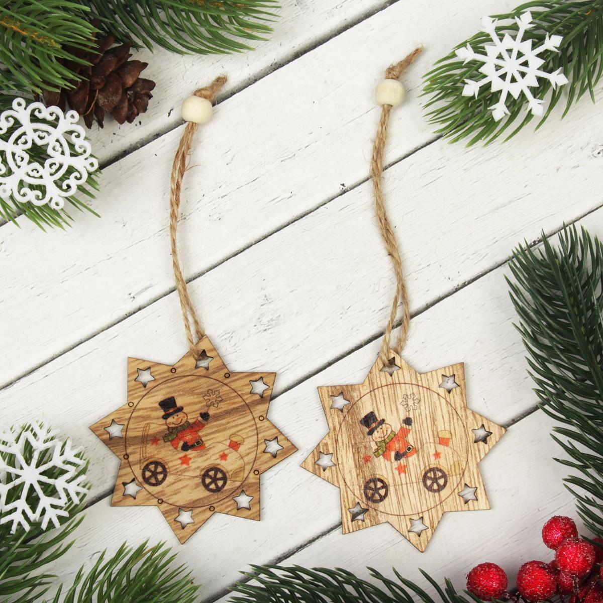 Украшение новогоднее подвесное К нам едет снеговик, 2 шт2303271Набор новогодних подвесных украшений, выполненных из дерева, отлично подойдет для декорации вашего дома и новогодней ели. С помощью специальной петельки украшение можно повесить в любом понравившемся вам месте. Но, конечно, удачнее всего оно будет смотреться на праздничной елке.Елочная игрушка - символ Нового года. Она несет в себе волшебство и красоту праздника. Такое украшение создаст в вашем доме атмосферу праздника, веселья и радости.В комплекте 2 украшения.