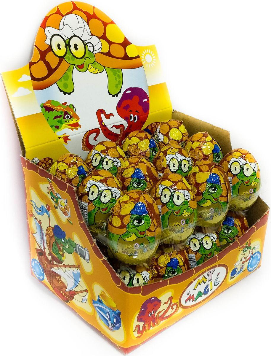 My Magic Черепаха шоколадное яйцо с игрушкой, 24 шт по 22,5 г4606846001360Специальные игрушки, спрятанные в яйце, расскажут малышам на их языке о животном и растительном мире земли, познакомят с новыми предметами, разовьют моторику и сообразительность, разбудят фантазию и научат общаться в игре. Коробка состоит из 24 шоколадных яиц, каждое яйцо из натурального бельгийского шоколада, внутри сюрприз — игрушка и вкладыш с описанием героя. В коллекции представлены разные коллекционные игрушки.