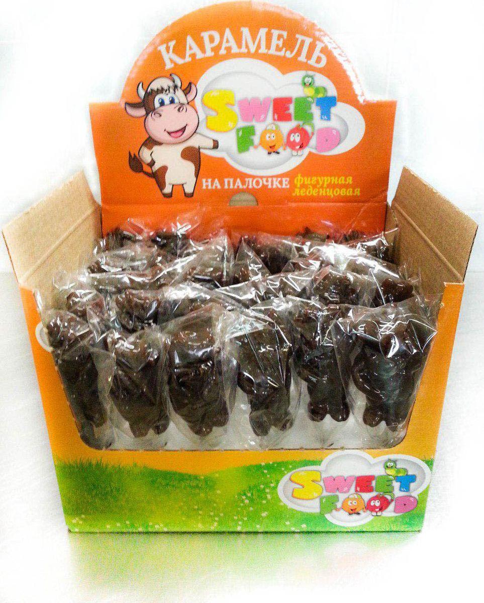 Sweet Food Быки-Коровы карамель фигурная на палочке со вкусом шоколада в шоубоксе, 30 шт по 25 г чудесинка со вкусом шоколада