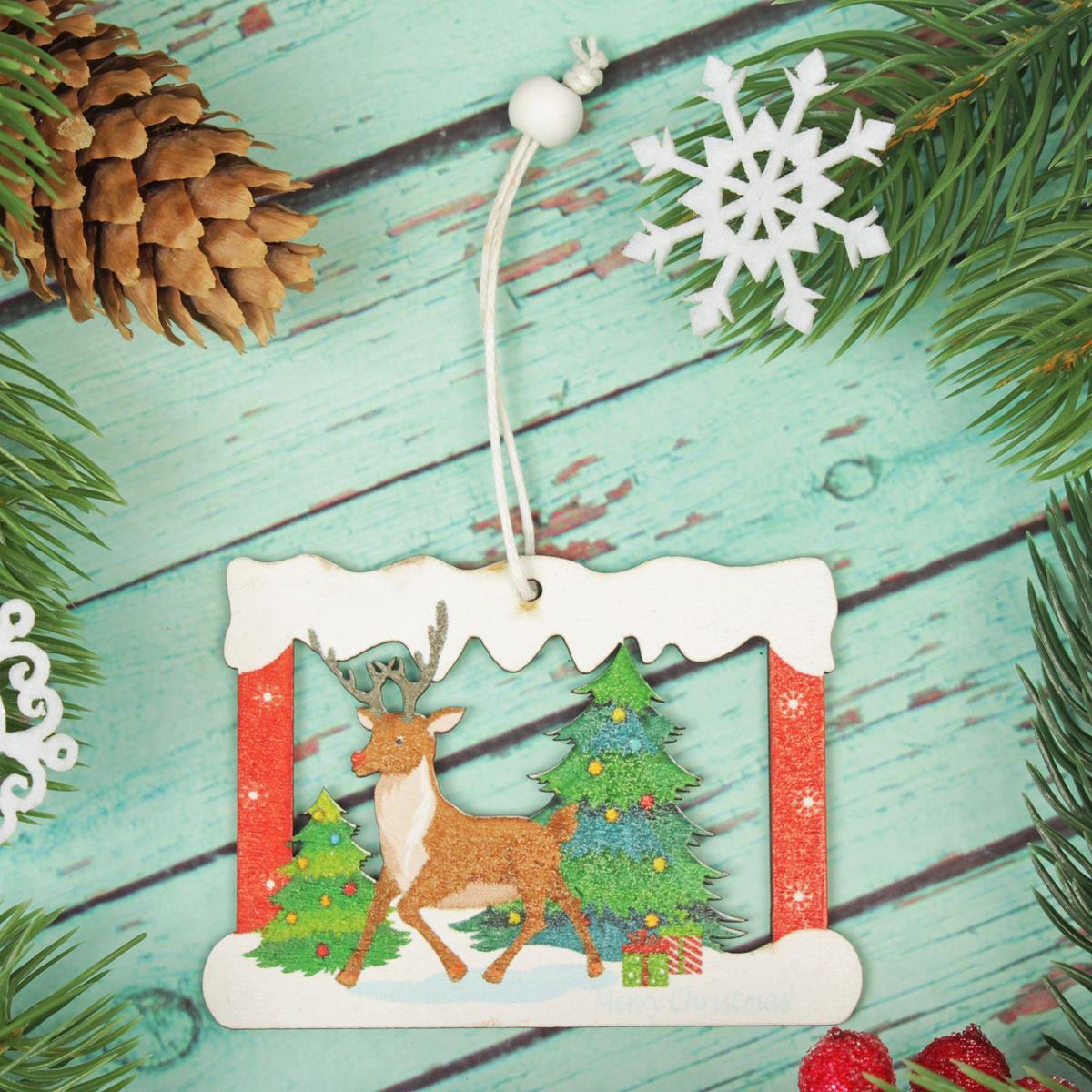 Украшение новогоднее подвесное Олень в окошечке2303451Новогоднее украшение, выполненное из дерева, отлично подойдет для декорации вашего дома и новогодней ели. С помощью специальной петельки украшение можно повесить в любом понравившемся вам месте. Но, конечно, удачнее всего оно будет смотреться на праздничной елке.Елочная игрушка - символ Нового года. Она несет в себе волшебство и красоту праздника. Такое украшение создаст в вашем доме атмосферу праздника, веселья и радости.