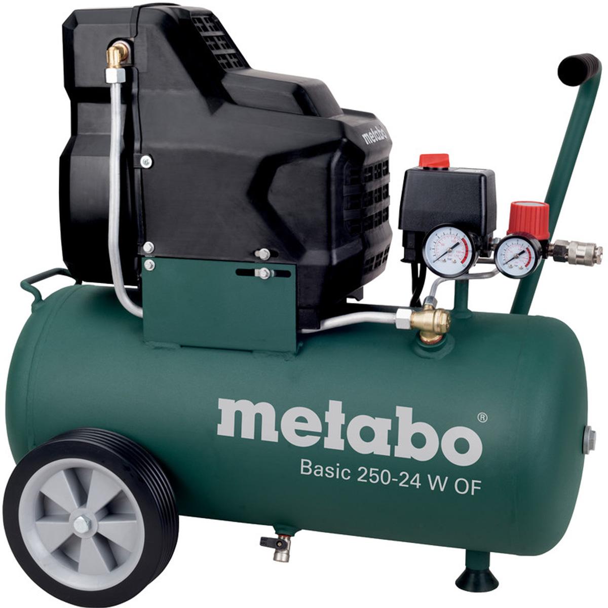 Компрессор Metabo Basic250-24WOF, безмасляный, 120 л/мин601532000Безмасляный компрессор Metabo Basic 250-24 W работает отэлектрической сети напряжением 220 В. Длина кабелясоставляет 1,5 метра. Отличается чистым воздухом, который несодержит каких-либо примесей. Предназначен для нагнетаниясжатого воздуха в различный пневмоинструмент в медицине,косметической индустрии и при покрасочных работах. Опорнаяножка обеспечивает устойчивое положение, а резиноваяподушечка снижает вибрации во время работы.