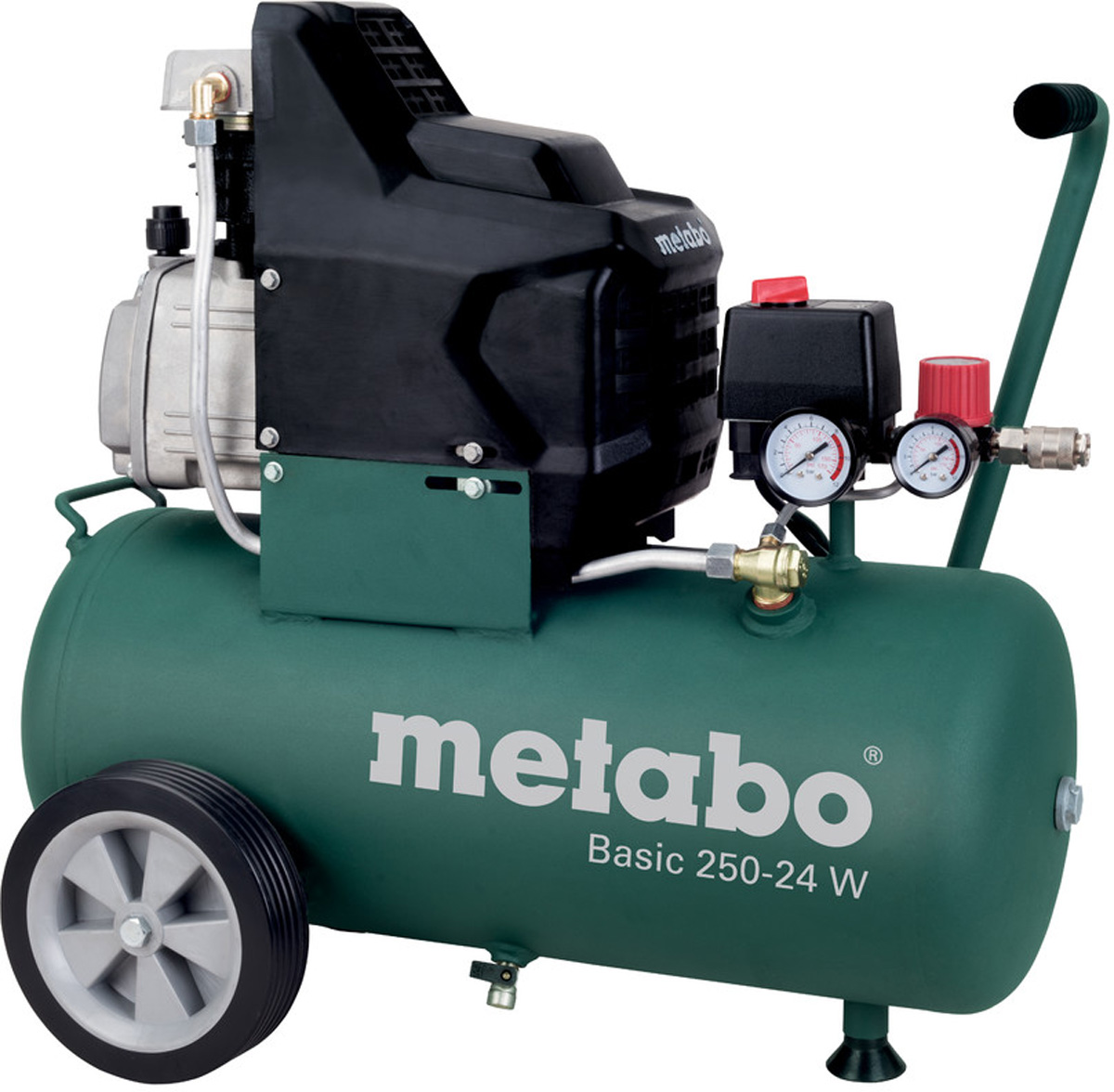 Компрессор Metabo Basic250-24W, масляный, 110 л/мин601533000Масляный компрессор Metabo Basic 250-24 W предназначен для получения сжатого воздуха с последующей его подачей в пневмоинструмент. Двигатель компрессора закрыт специальным кожухом, который предотвращает его повреждение и загрязнение. Опорная ножка обеспечивает устойчивое положение на поверхности, а резиновая подушечка снижают уровень вибрации. Данная модель эксплуатируется в авторемонтных мастерских, на небольших производствах и в строительстве.