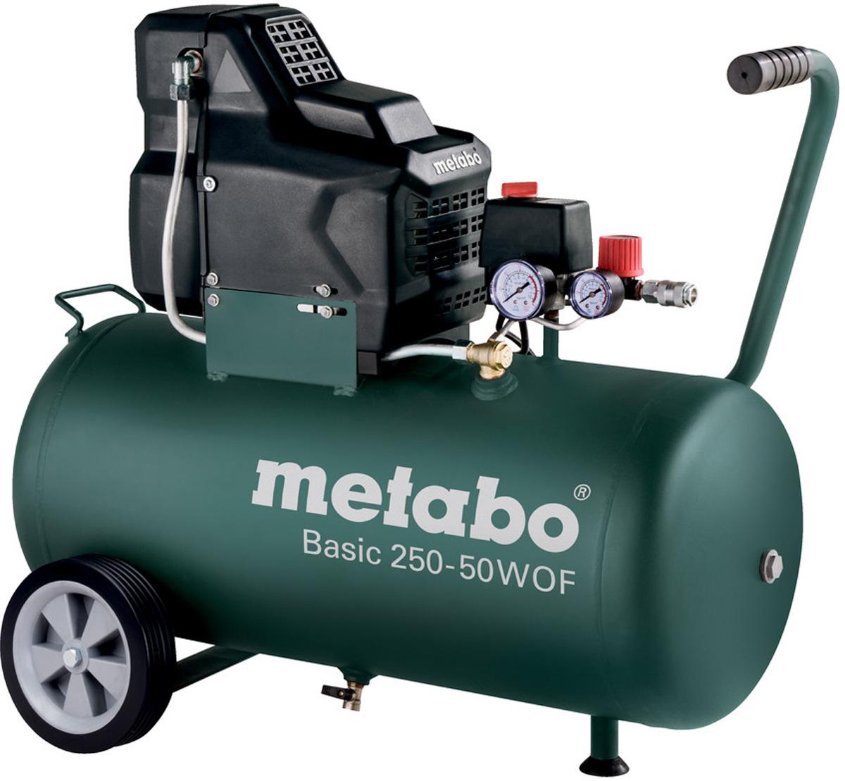 Компрессор Metabo Basic250-50W OF, безмасляный, 120 л/мин601535000Мощный и прочный компрессор для простого профессионального применения, Безмасляный поршневой компрессор: простая транспортировка и сниженные затраты на обслуживание, Для однофазного переменного тока, Регулируемое рабочее давление, ориентированное на конкретное применение, благодаря редуктору с манометром, Хороший холодный пуск благодаря манометрическому переключателю с разгрузочным клапаном, Защита от перегрузок: предохраняет двигатель от перегрева, Обрезиненные устойчивые колеса для мобильного использования, Не требуется проверка перед включением, Дополнительный манометр для индикации давления в ресивере, Обрезиненная рукоятка для комфортного пользования, 10-летняя гарантия на ресивер от сквозной коррозии