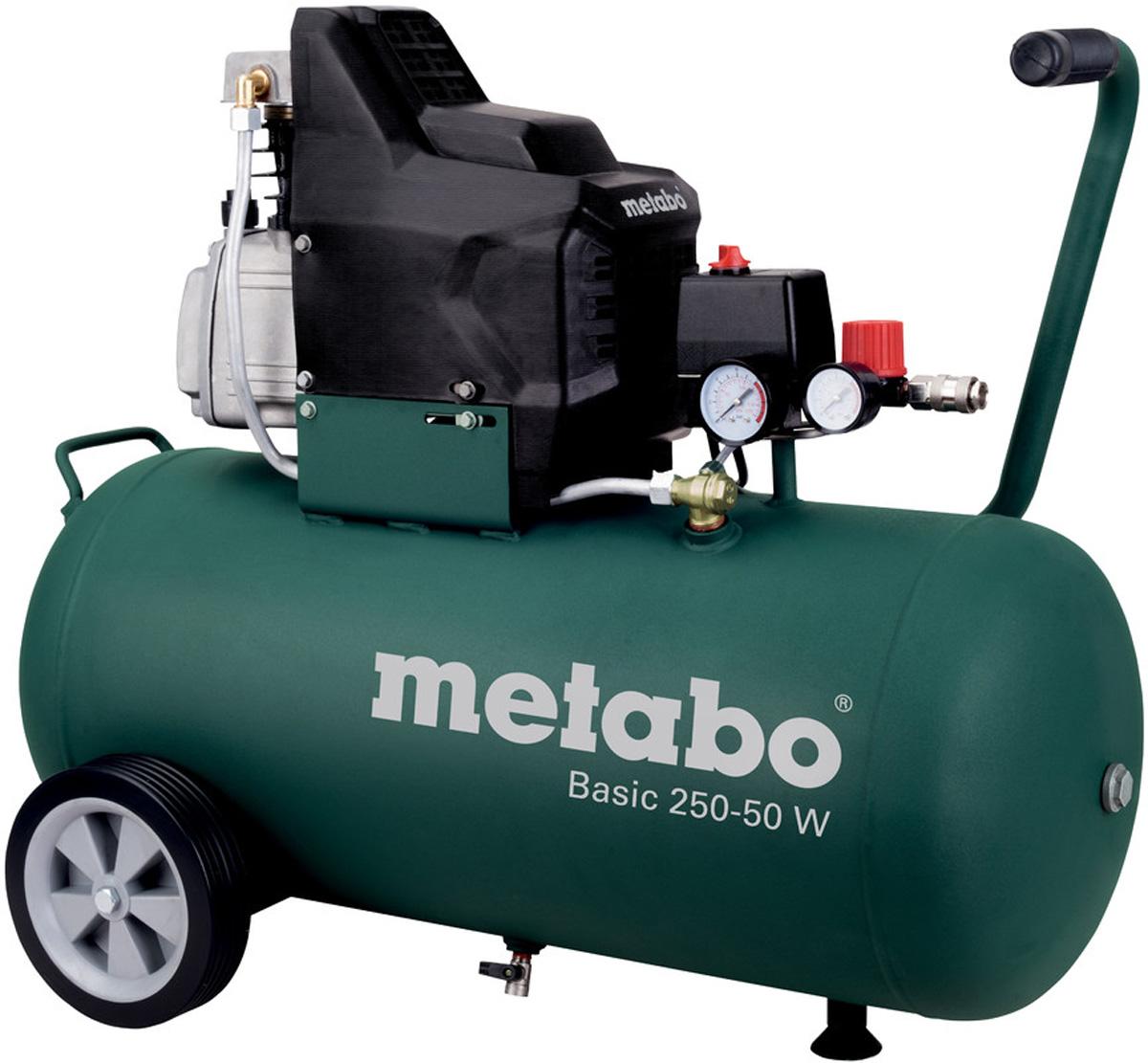 Компрессор Metabo Basic250-50W, масляный, 110 л/мин601534000Мощный и прочный компрессор Metabo Basic250-50W предназначен для простого профессионального применения.Особенности:Поршневой компрессор с масляной смазкой.Регулируемое рабочее давление, ориентированное на конкретное применение, благодаря редуктору с манометром. Хороший холодный пуск благодаря манометрическому переключателю с разгрузочным клапаном. Защита от перегрузок: предохраняет двигатель от перегрева. Обрезиненные устойчивые колеса для мобильного использования. Дополнительный манометр для индикации давления в ресивере. Обрезиненная рукоятка для комфортного пользования.