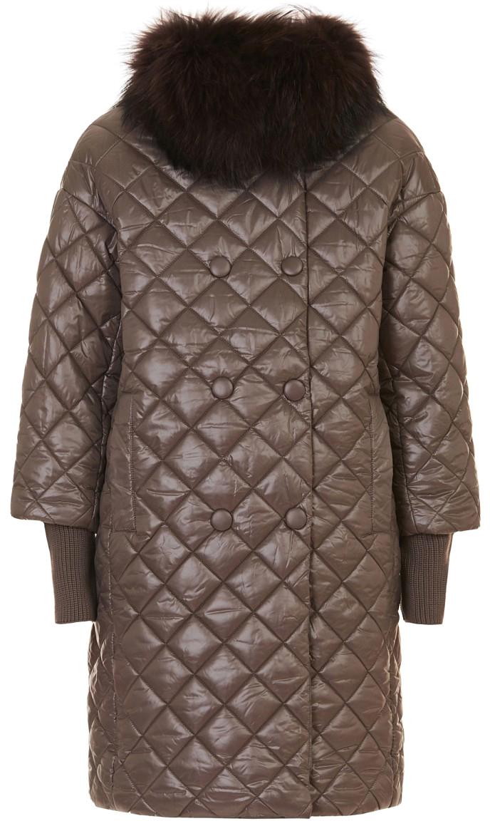 Пальто женское Baon, цвет: коричневый. B037527_Flint. Размер L (48)B037527_FlintЖенское пальто Baon с длинными рукавами и отложным воротником выполнено из полиэстера. Наполнитель - полиэстер. Воротник украшен мехом. Изделие дополнено двумя втачными карманами спереди.