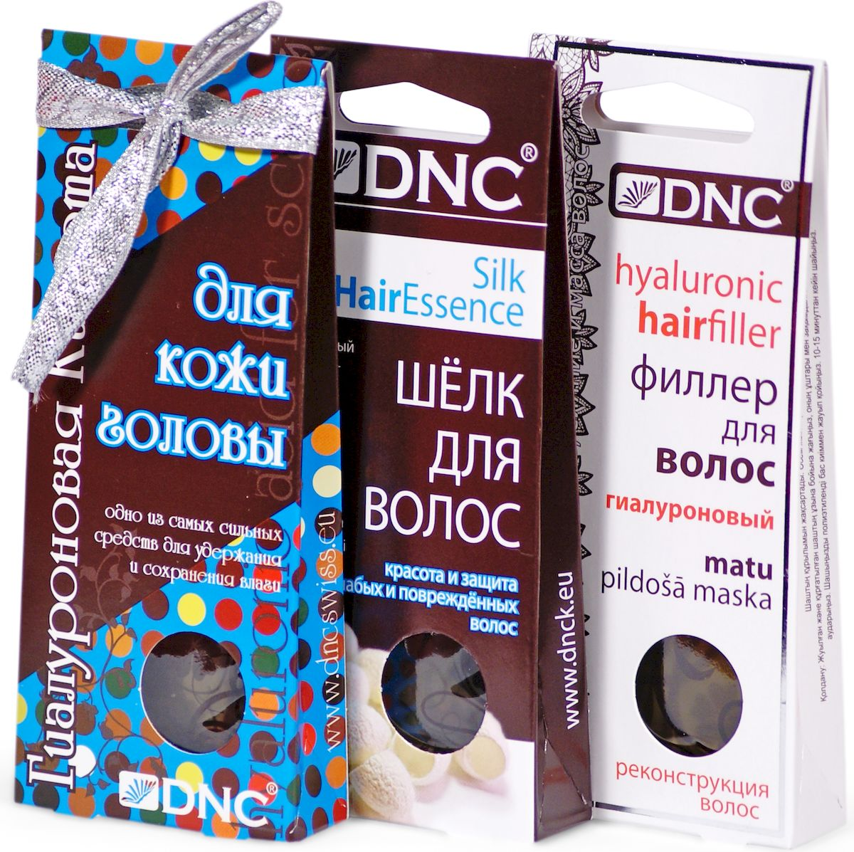 DNC Набор для волос: филлер, 4 х 10 мл, шелк, 4 х 10 мл, гиалуроновая кислота для кожи головы, 3 х 15 мл dnc набор филлер для волос 3 15 мл и шелк для волос 4 10 мл