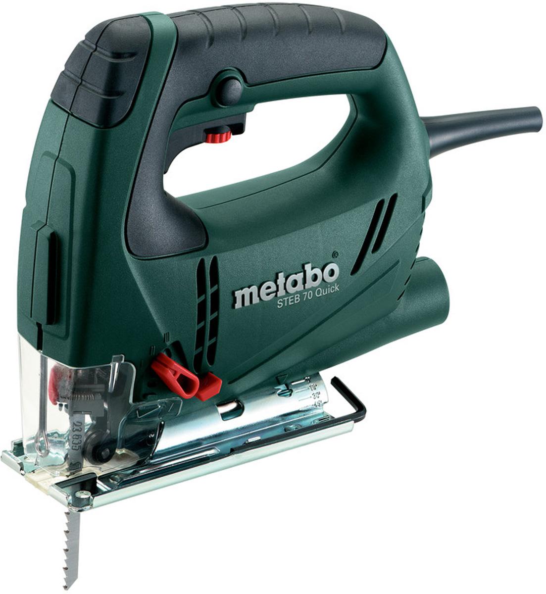 Лобзик электрический Metabo STEB 70 Quick. 601040000601040000Лобзик Metabo STEB 70 Quick - модель профессионального класса. Оснащена мощным двигателем на 570 Вт. В инструменте предусмотрена предварительная установка маятникового хода - 4 ступени. Лобзик легко справляется с заготовками из дерева толщиной до 70 мм и цветных металлов толщиной до 20 мм. Также предусмотрена резка под углом от 0 до 45 градусов. Скорость движения регулируется в пределах 1000-3300 ходов в минуту при помощи удобного переключателя.Угольные щетки автоматически отключатся при износе, что продлевает срок эксплуатации двигателя.