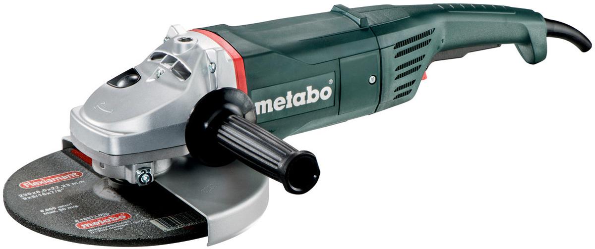 Машина шлифовальная Metabo WX2400-230, угловая600379000Углошлифовальная машинаMetabo WX2400-230 применяется для зачистки, шлифовки и резки металлов, обработки бетона и камня при установке соответствующих шлифовальных, отрезных, алмазных кругов.УШМ имеет преимущества: - надежный двигатель;- предохранительный выключатель предотвращает непреднамеренное включение;- электронная защита двигателя от перегрузки и защита от повторного пуска;- дополнительная рукоятка, монтируемая в трех положениях;- отключающиеся угольные щетки для защиты двигателя.