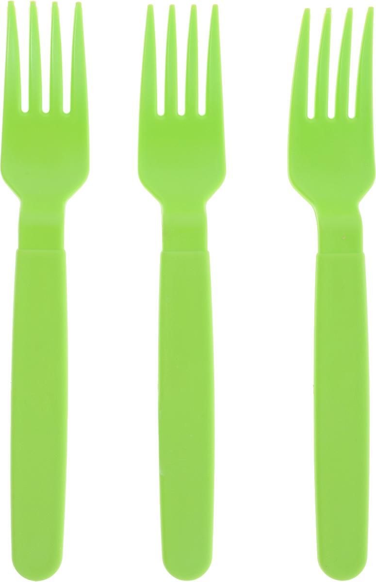 Вилка столовая Gotoff, цвет: зеленый, 3 штWTC-807_зеленыйСтоловые вилки Gotoff выполнены из прочного пищевого полипропилена. Отлично подойдут как для холодных, так и для горячих блюд. Вилки компактные, легкие и не занимают много места. Их удобно использовать на даче, брать с собой на пикники, в походы и поездки. Пластиковые столовые приборы легко моются, гигиеничны, не накапливают запахов. Длина вилок: 18 см.