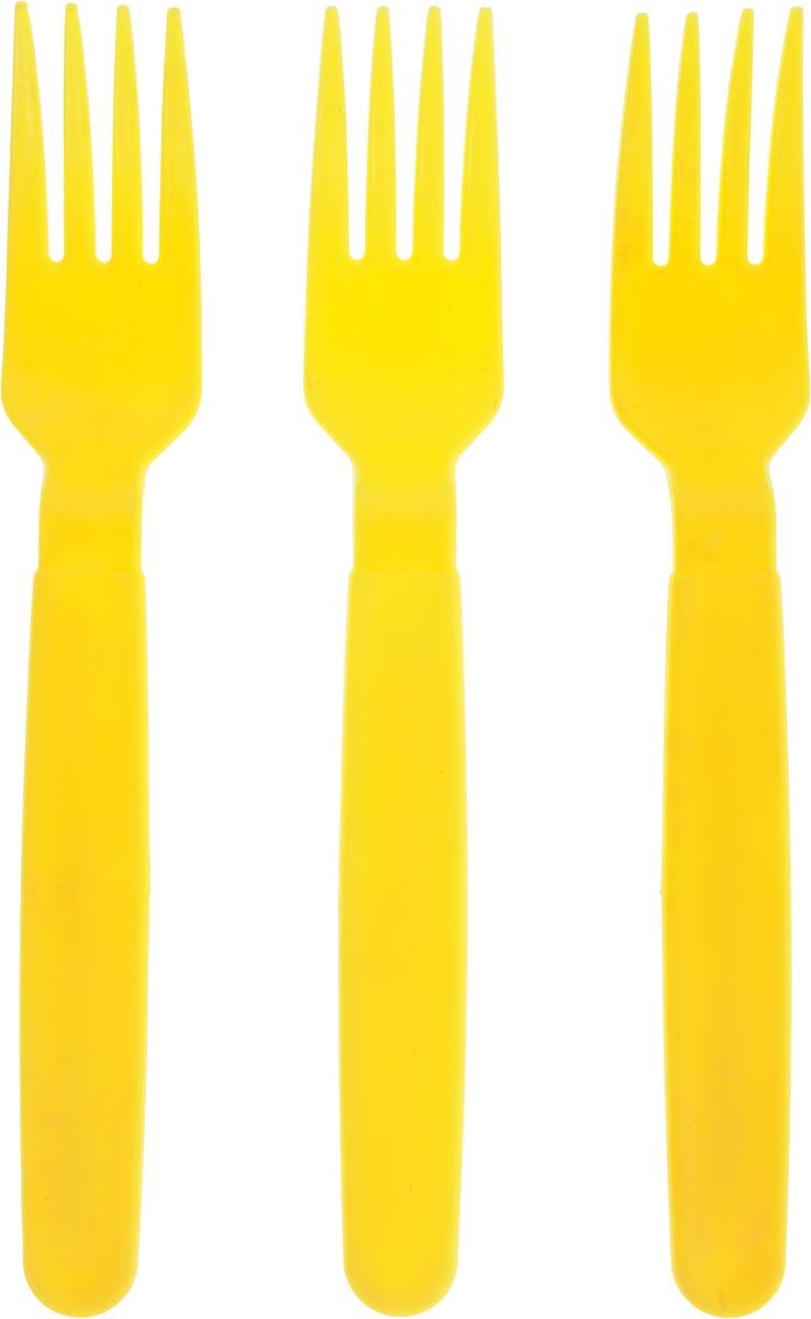Вилка столовая Gotoff, цвет: желтый, 3 штWTC-807_желтыйСтоловые вилки Gotoff выполнены из прочного пищевого полипропилена. Отлично подойдут как для холодных, так и для горячих блюд. Вилки компактные, легкие и не занимают много места. Их удобно использовать на даче, брать с собой на пикники, в походы и поездки. Пластиковые столовые приборы легко моются, гигиеничны, не накапливают запахов. Длина вилок: 18 см.