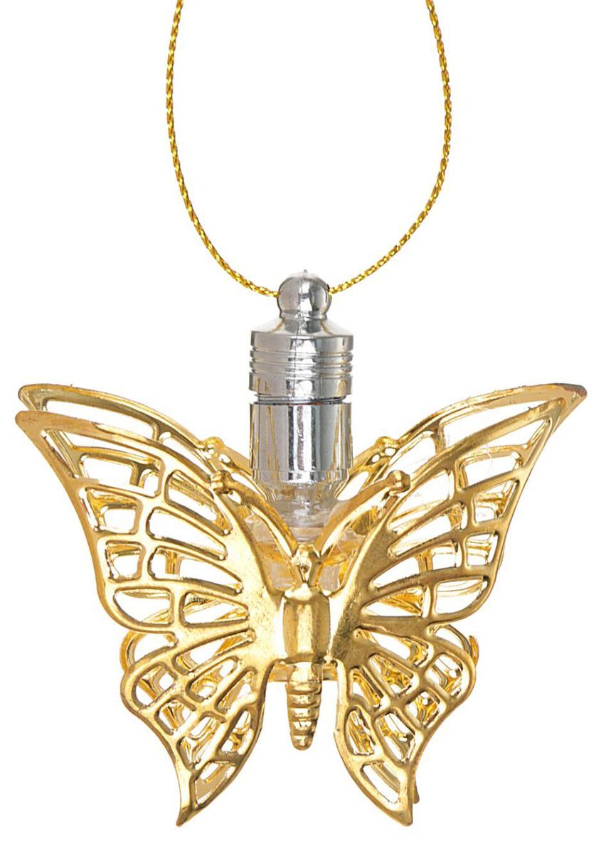 Подвеска новогодняя Luazon Lighting Бабочка, световая, цвет: золотистый, длина 5,5 см