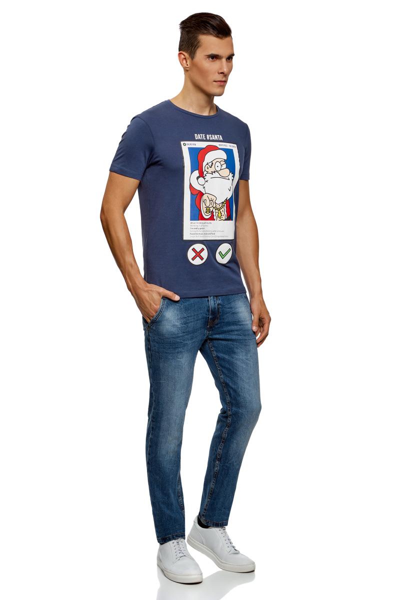 Футболка мужская oodji Lab, цвет: синий, красный. 5L611406M/47601N/7545P. Размер XS (44) футболка мужская oodji lab цвет темно синий 5l611395m 47601n 7912p размер l 52 54