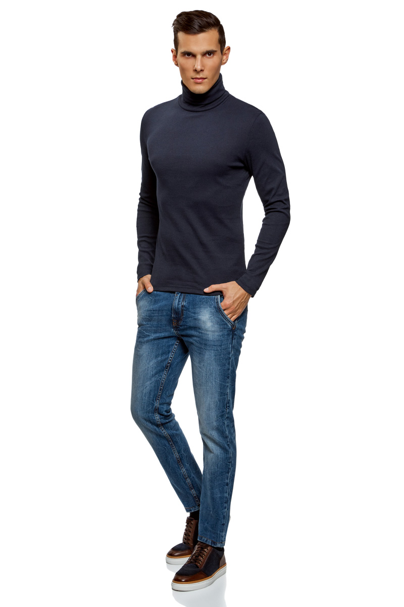 Водолазка мужская oodji Basic, цвет: темно-синий, 2 шт. 5B513000T2/47664N/7901N. Размер XS (44) oodji водолазки