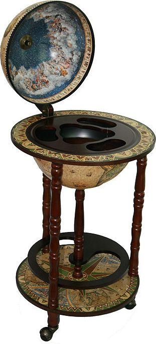 Бар декоративный Глобус. Сокровища древнего мира, диаметр глобуса 33 см, 44 х 44 х 88 см