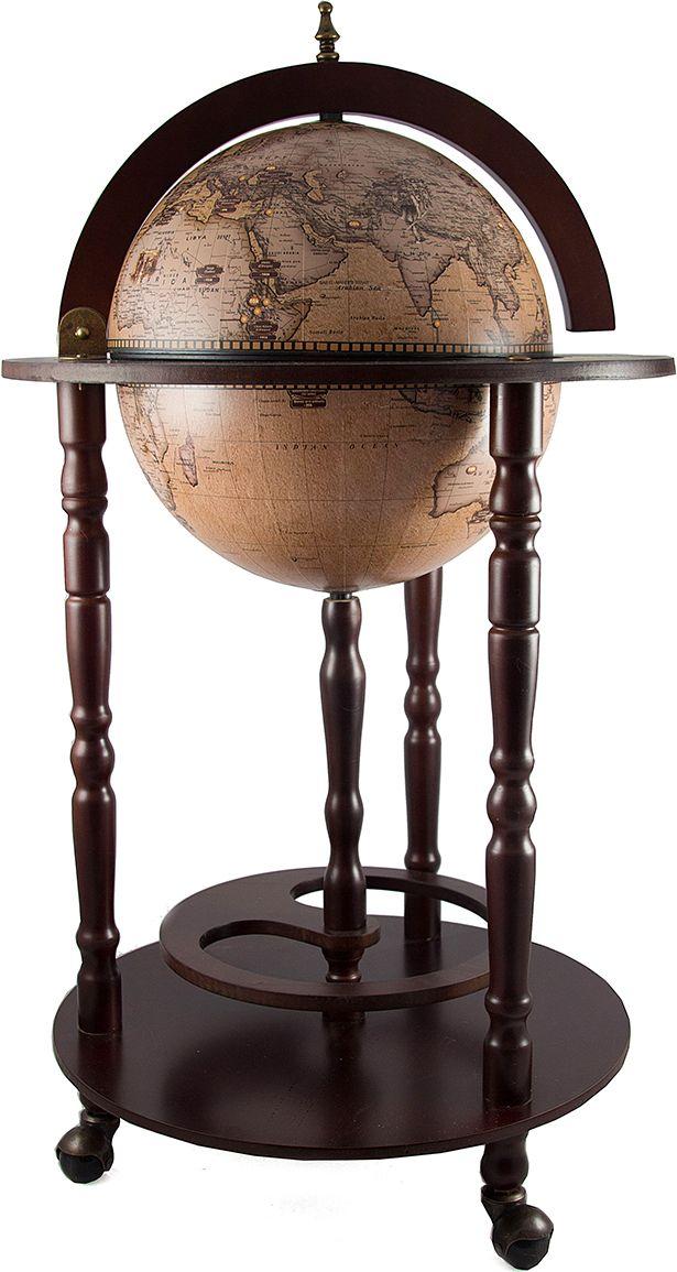 Бар декоративный Глобус, диаметр глобуса 33 см, 44 х 44 х 88 см. 4706847068Глобус-Бар это предмет иньерьера, в виде глобуса, представляет собой мини-бар для хранения бутылок с алкогольными напитками и бокалов.