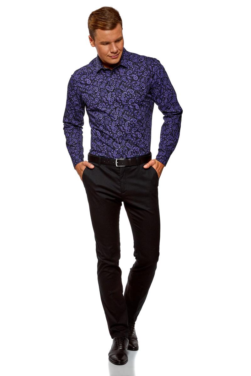 Рубашка мужская oodji Lab, цвет: черный, фиолетовый. 3L110293M/19370N/2983E. Размер 39-182 (46-182)3L110293M/19370N/2983EМужская рубашка от oodji выполнена из натурального хлопкового материала. Модель с длинными рукавами и отложным воротником застегивается на пуговицы.