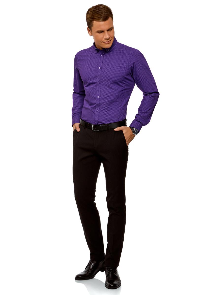 Рубашка мужская oodji Lab, цвет: фиолетовый. 3L110282M/19370N/8883G. Размер 39-182 (46-182)3L110282M/19370N/8883GМужская рубашка от oodji выполнена из натурального хлопкового материала. Модель приталенного кроя с длинными рукавами и отложным двойным воротником застегивается на пуговицы.