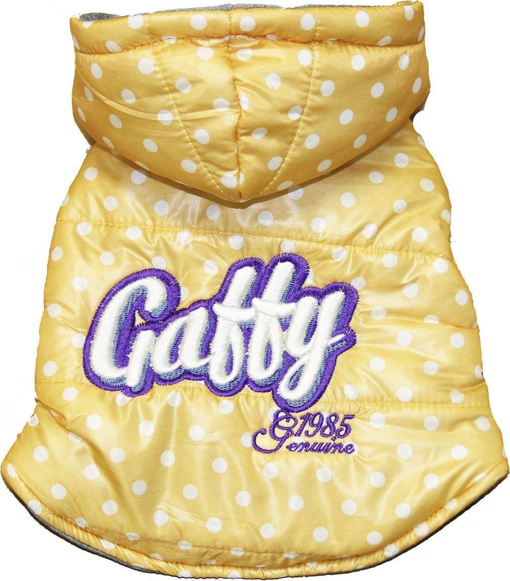 Куртка для собак Gaffy Pet Polka Dot. Размер S11016 SЯркая желтая курточка в белый горошек подойдет всем собакам. Можно сочетать с рубашками и майками.Идеально сочетается с рубашкой Cute plaid. Утеплена изнутри.Необычный дизайн. Фиксируется на животе кнопками. Материал кнопок: металл.Обхват шеи, см: 21.Обхват груди, см: 40.Длина спины, см: 26.