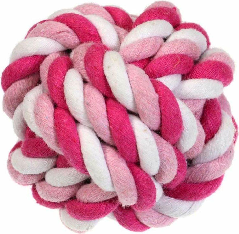 Игрушка для собак Gaffy Pet Мячик веревочный большой, цвет: розовый, 7 х 7 см pet line фурминатор большой 79 зубьев