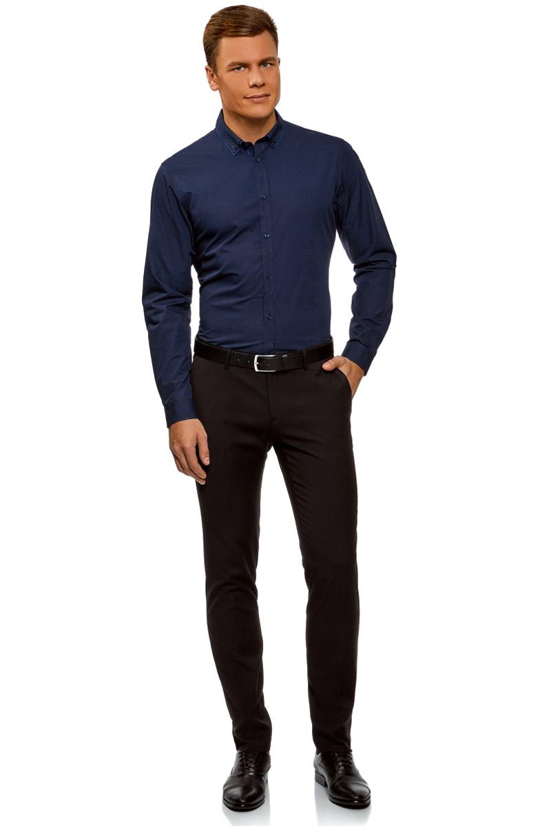 Рубашка мужская oodji Lab, цвет: темно-синий. 3L110282M/19370N/7979G. Размер 39-182 (46-182)3L110282M/19370N/7979GМужская рубашка от oodji выполнена из натурального хлопкового материала. Модель приталенного кроя с длинными рукавами и отложным двойным воротником застегивается на пуговицы.